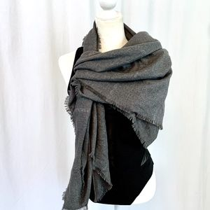 Collection 18 Grey Windowpane Plaid Blanket Scarf